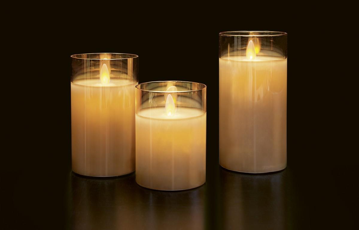Led Kerzen Weihnachtsbeleuchtung.Led Kerzen Set Im Glas Bernstein Frutiger Display Ag